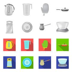 Vector illustration of kitchen and cook symbol. Collection of kitchen and appliance stock vector illustration.