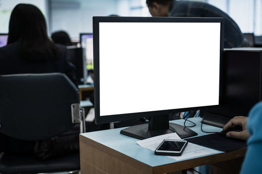 E-learning study concept: Mockup of monitor computer pc with groups teacher or business training computers using or typing on pc with blank white screen in information technology center at university