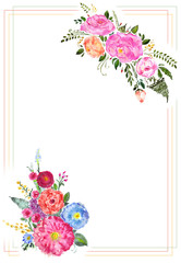 Watercolor hand drawn different flowers bouquet in frame. Isolated floral illustration on white background.