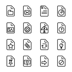 office file paper document line icon set