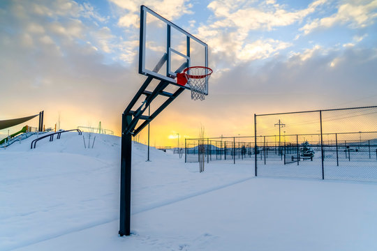 Snowy basketball court in Eagle Mountain Utah