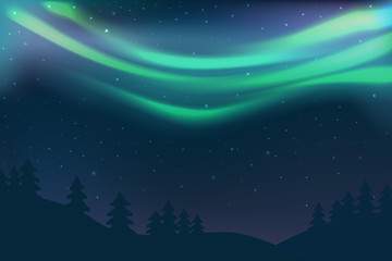 Night sky with aurora over spruce forest in winter, green north light with stars, polar light glowing, polar streamers. Vector