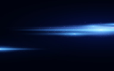 Wall Mural - Stylish blue light effect isolated on black background. Blue glitters. Glowing lines with sparkles. Blurred light trails. Vector illustration