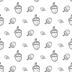 Handdrawn doodle seamless pattern acorn icon. Hand drawn black sketch. Sign symbol. Decoration element. White background. Isolated. Flat design. Vector illustration