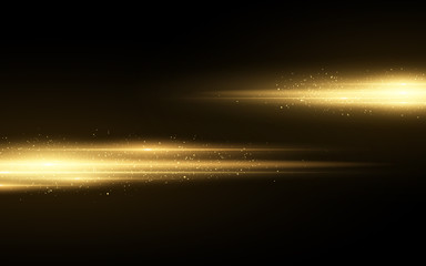 Wall Mural - Stylish golden light effect isolated on black background. Golden glitters. Glowing lines with sparkles. Blurred light trails. Vector illustration
