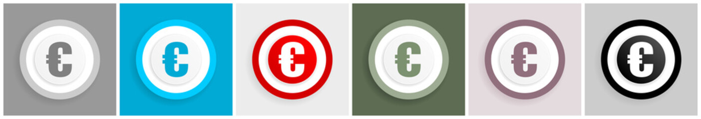 Euro icon set, vector illustrations in 6 options for web design and mobile applications