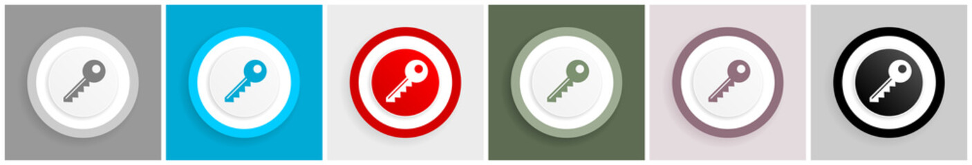 Key icon set, vector illustrations in 6 options for web design and mobile applications