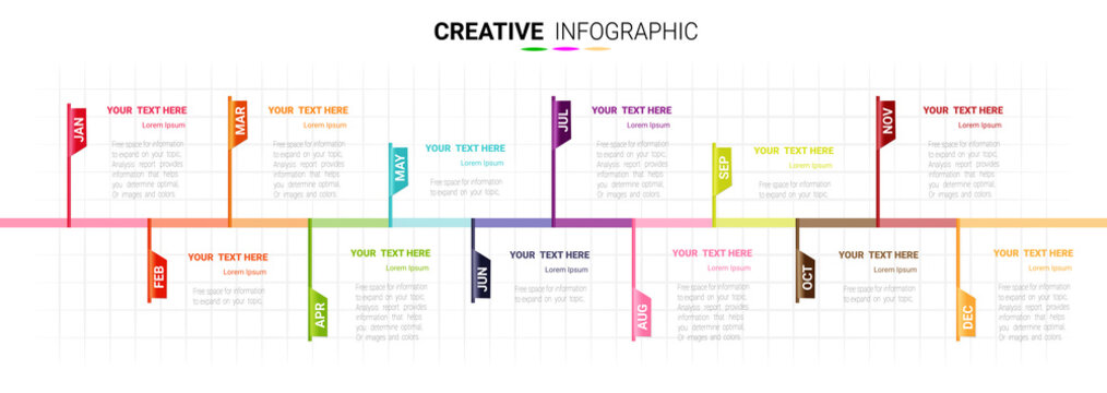 Time line for 1 year, 12 months, Timeline infographics design vector 12 steps and Presentation business can be used for Business concept with 12 options, steps or processes.