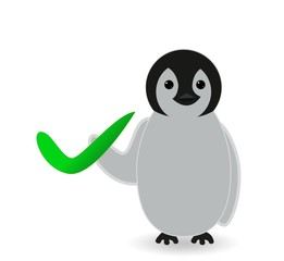 penguin holding correct sign