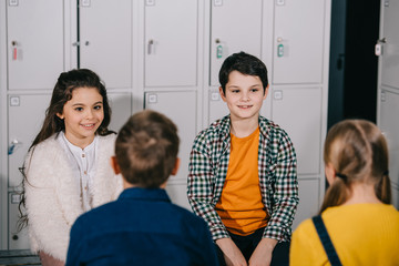 Group of children talking in changing room