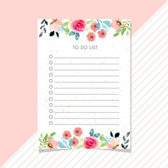 to do list card with flower watercolor border