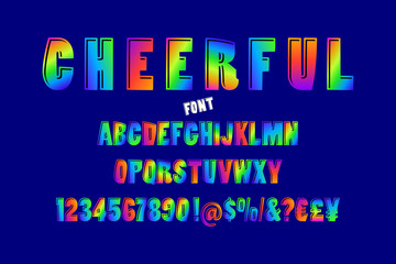Abstract color font and alphabet