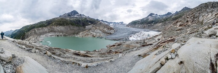 panorama; climate change, rhone glacier protected with cloths, switzerland, europe