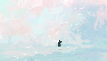 Woman on the background of the pastel sky. Digital art