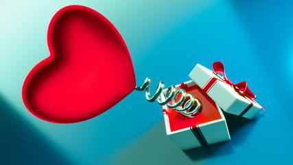 Obraz Czerwone, walentynkowe serce na sprężynie - fototapety do salonu