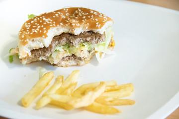 Burger bitten off. Improper diet leads to obesity. Lots of cholesterol.