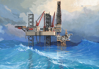 Drilling platform in a raging sea