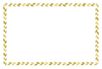 葉っぱのフレーム 水彩 黄色