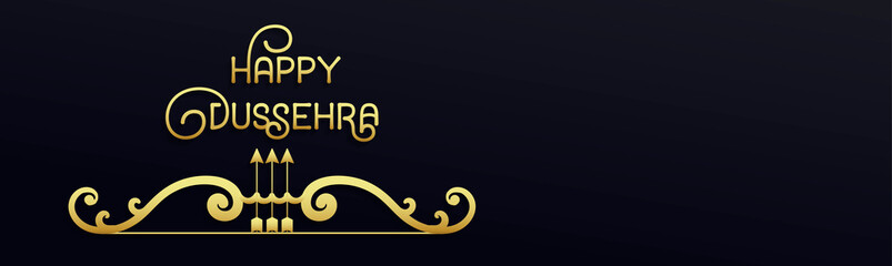 Creative golden text Happy Dussehra with bow and arrow. Horizontal web banner. Inscription poster, flyer, design card of the Indian festival. Vector illustration of navy blue background for website.