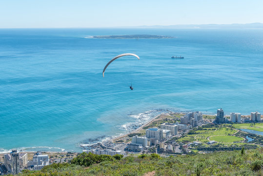 Tandem paraglider after launch from Signal Hill