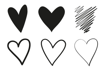 Hand drawn grungy hearts on isolated white background. Set of love signs. Unique image for design. Black and white illustration. Grunge elements for design