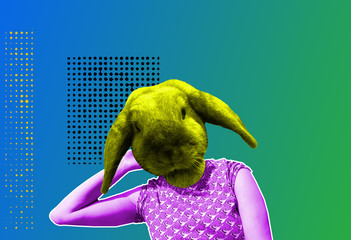 Contemporary art collage rabbit head