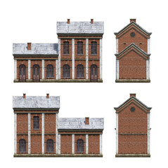 3d-renders of old-style brick industrial building