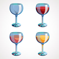 Set vector wine glasses empty, with white, pink and red wine