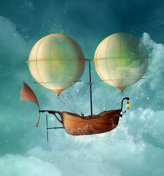 Fantasy steampunk vessel flies in a blue sky - 3D illustration