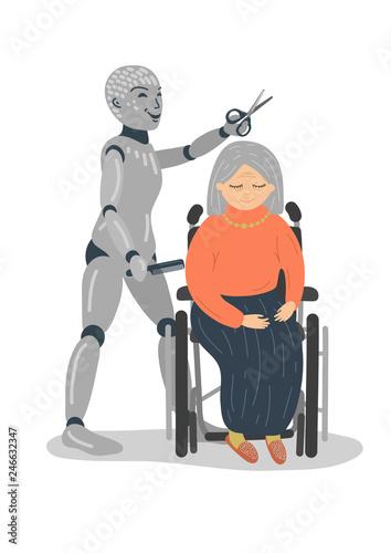 Robot hairdresser cutting senior woman's hair