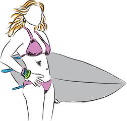 girl surfer illustration