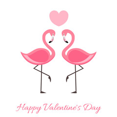 Happy Valentine's Day Lettering illustration with Pink Flamingo. Vector  isolated illustration on white background