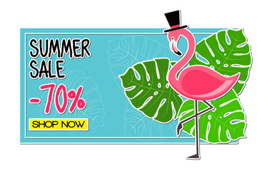 Summer Sale -70% Shop Now. Pink Flamingo vector illustration with tropical palm leaves on blue background.  Paper art style