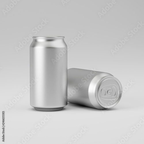 Template Aluminum Soda Can On Gray Background Mockup For Beer And Carbonated Drinks Rendering Ilration