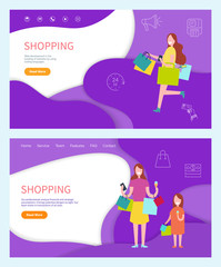 Shopping woman buying products on sale, using discounts vector. Mother and daughter returning home from shop store, eating ice cream and walking,