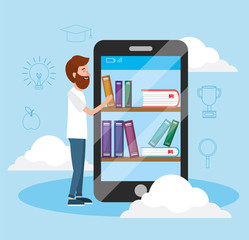 man with smartphone technology and books knowledge