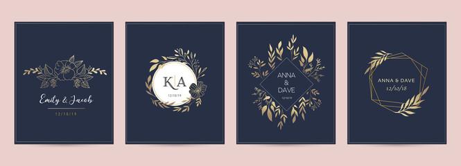 Fototapeta Wedding logos, hand drawn elegant, delicate monogram collection obraz