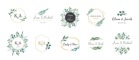Wedding logos, hand drawn elegant, delicate monogram collection Wall mural