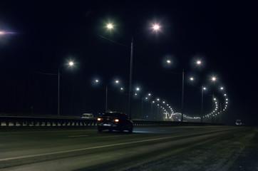 winter highway at night