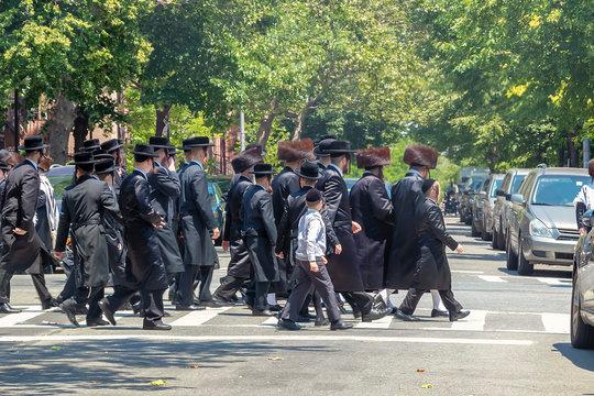Orthodox Jews Wearing Special Clothes on Shabbat, in Williamsburg, Brooklyn, New York
