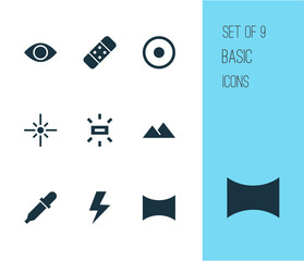 Photo icons set with remove red eye, lightning, filter and other plaster  elements. Isolated vector illustration photo icons.