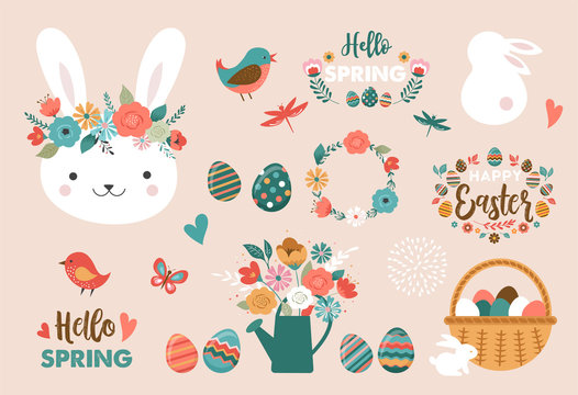 Happy Easter card - cute bunny, eggs, birds and flowers elements, vector illustration
