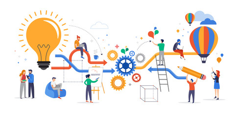 Group of young business people collaborating, solving problems, thinking about creative idea, brainstorming and teamwork concept. Flat style vector illustration
