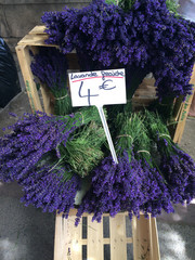 Fresh lavender for sale at a street market in Arles, France