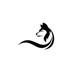 Wolf graphic vector, silhouette of a wolf, vector illustration.
