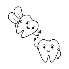 comic teeth couple with fairy kawaii characters