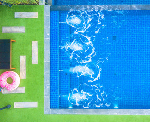 Top view of modern swimming pool