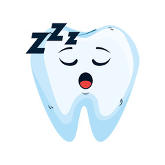 comic tooth asleep kawaii character