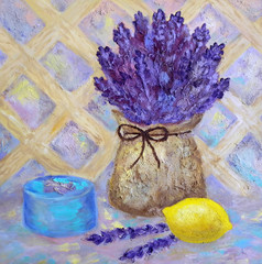 Still life with bouquet of lavender in a canvas bag, lemon and box. Oil art. Provance style. Violet pastel colors.