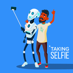 Robot Takes A Selfie On Smartphone With Friend Guy Vector. Isolated Illustration